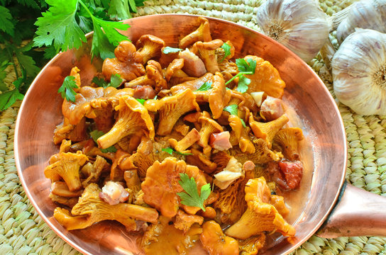 Chanterelles stewed with bacon, garlic and herbs