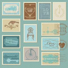 Retro Postage Stamps - for wedding design, invitation, congratul