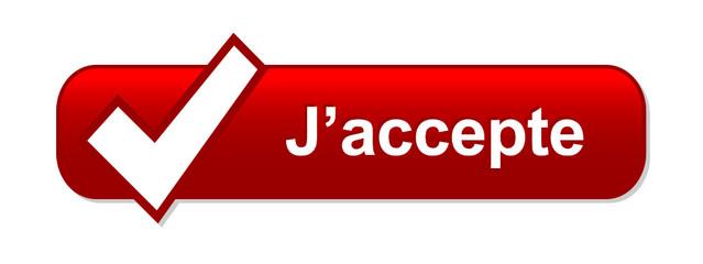 "Bouton Web ""J'ACCEPTE"" (accepter valider confirmer inscription)"