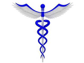 Blue caduceus medical symbol