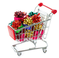 Shopping cart with colorful christmas gift boxes
