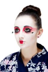 Geisha girl isolated against white
