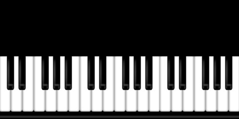 Piano Keyboard Black and White Background