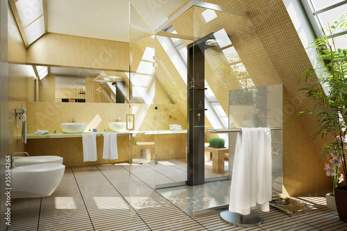 Bathroom Designed In The Mansarde Stockfotos Und Lizenzfreie Bilder Impressive Bathroom Designed