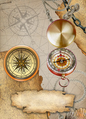 Pirate map with old compass