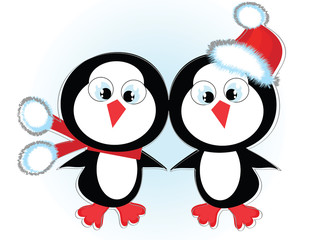 Two cute penguins.