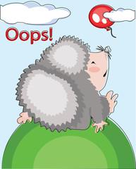 Hedgehog and flying balloon, Oops.