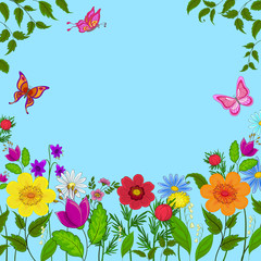 flowers, butterflies and sky