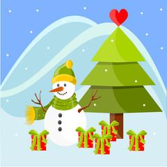 Christmas landscape with Snowman