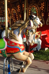 Colorful Carousel horses at a Fair