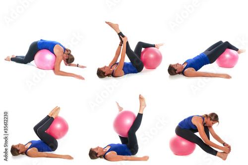 collage femme sportive fitball photo libre de droits sur la banque d 39 images. Black Bedroom Furniture Sets. Home Design Ideas