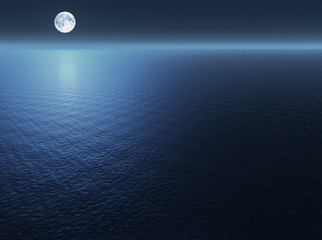 In de dag Volle maan Moon over the sea