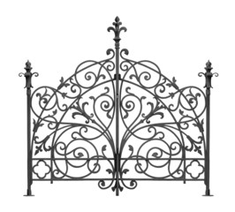 Black forged gate with decorative lattice