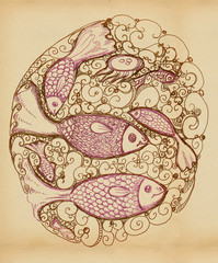 Fish and jellyfish - decorative picture