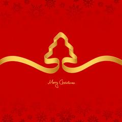 Gold Ribbon Christmas Tree & Snowflakes Red