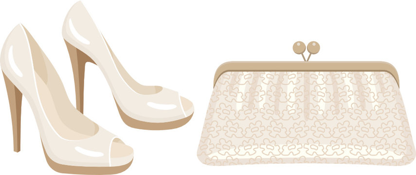 Female bag and shoes. vector