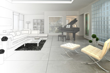 Loft with a piano (drawing)