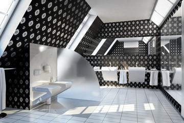 Bathroom designed silver-black