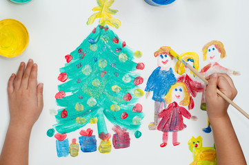 Child painting Happy family and Christmas tree