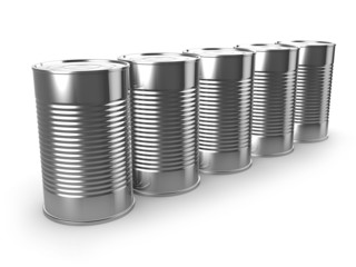 3d Row of tin cans