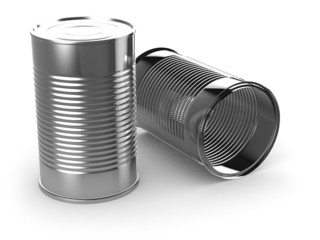 3d Two tin cans one empty