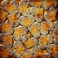 background with orange grunge hearts