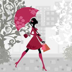 Printed roller blinds Floral woman beautiful woman with umbrella