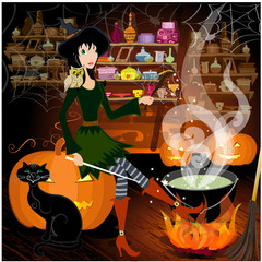 Witch potion brews
