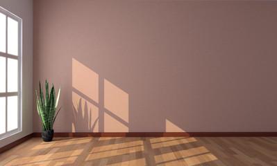 Interno vuoto con parquet e finestra 3d
