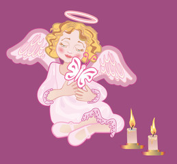 A mournful angel holds a butterfly