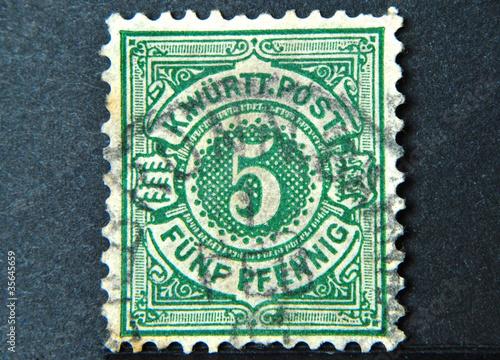 Alte Briefmarke Aus Dem Königreich Württemberg Deutschland