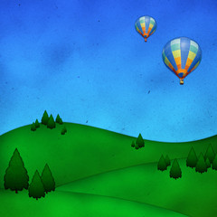 hot air balloons over nice green hill background