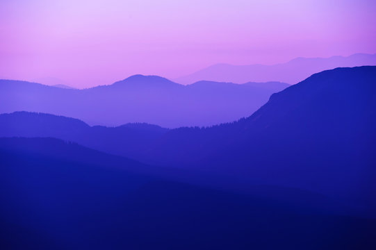 violet sunset in the mountains