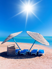 Paradise under Sun Umbrellas Shade