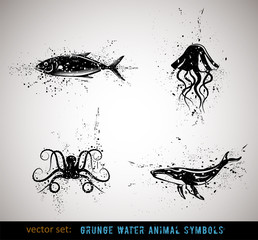Selected grungy animals symbols/icons. Vector Illustration.