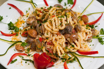 Italian Food, pasta with clams