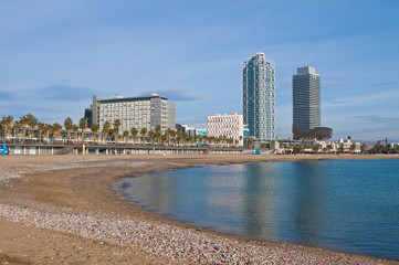 Barceloneta Beach near Port Olimpic area in Barcelona, Spain