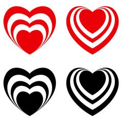 Abstract Valentine heart set