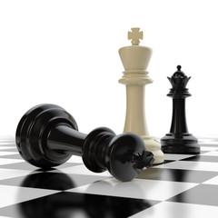 Schachfiguren - schwarze Dame und zwei Könige