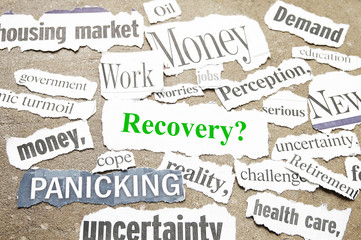 News paper headlines showing bad news and Recovery question.