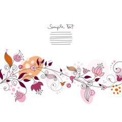 Floral Card Coloured Pink/Orange