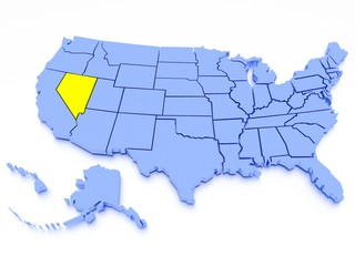 3D map of United States - State Nevada