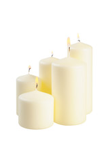 Five large lighted candle