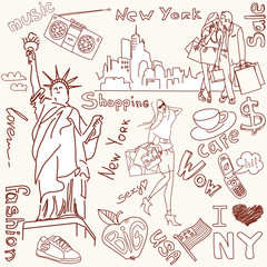 Self adhesive Wall Murals Doodle shopping in new york doodles