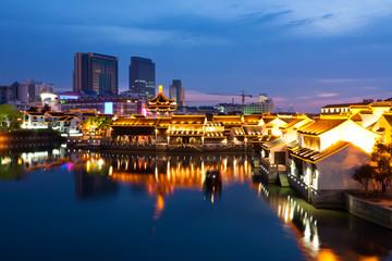 Beautiful night scene of the city Suzhou, China