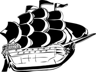 sketch wooden vessel under sail