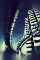 Fotobehang - Futuristic architecture over grunge texture background.