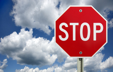 Stop sign on clouds