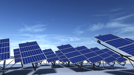 Field of articulated solar panels with blue sky in morning
