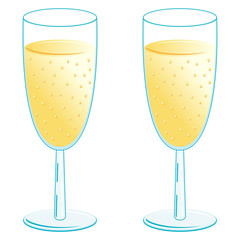 Champagne glasses over white background